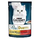 purina gourmet perle umido gatto duetti con carni delicate con pollo e manzo, 24 buste da 85 g ciascuna, confezione da 24 x 85 g