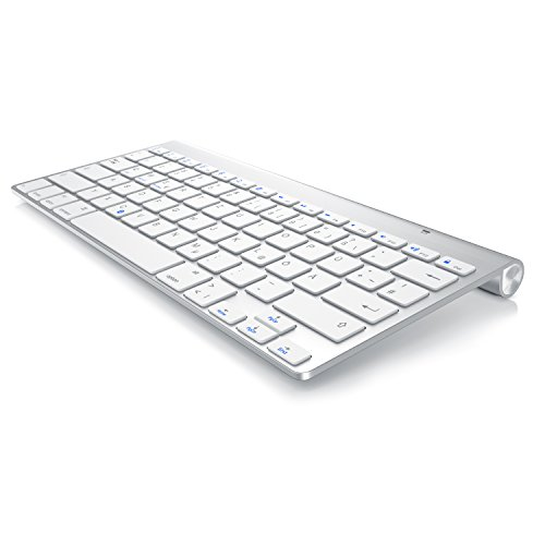 CSL - Bluetooth Tastatur im Mac Style - Kabelloses Keyboard - Multimediatasten - QWERTZ-Layout - für iOS Android Windows - kompatibel mit PC Notebook Mac MacBook Pro Smartphone Tablet - Silber