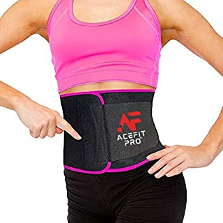 [2021] ACEFIT PRO Waist Trimmer Belt Slim Body Sweat Wrap for Stomach and Back Lumbar Support Trainer Belt for Loss Workou...