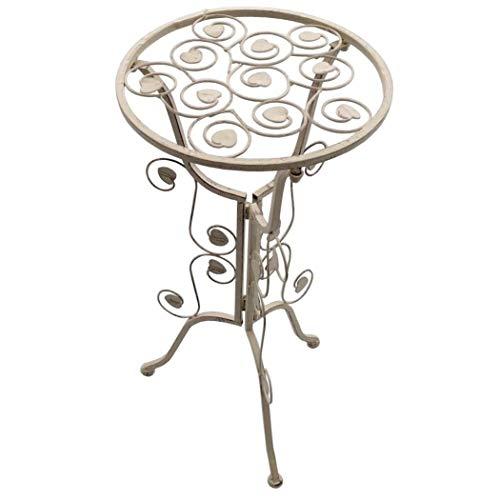 PrimoLiving Metall Beistelltisch Tisch P-9510 im Shabby-Look in Antik-Weiß Creme