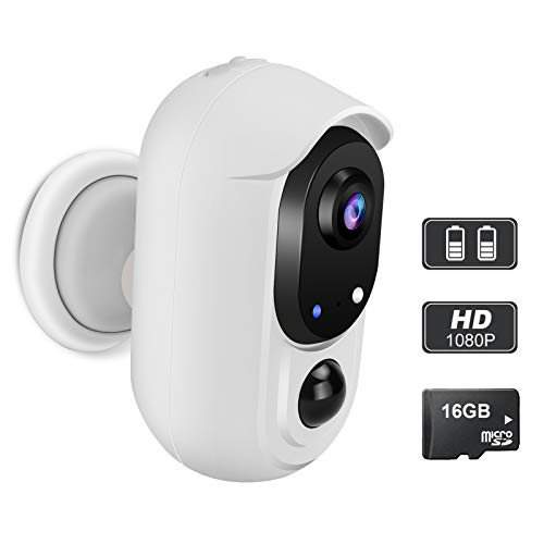 WOHOME Rechargeable Battery-Powered Security Camera,Outdoor/Indoor Wireless Camera with 1080P Night Vision,2 -Way Audio,IP65 Waterproof WiFi Camera with Cloud,Compatible with Alexa/Google Assistant