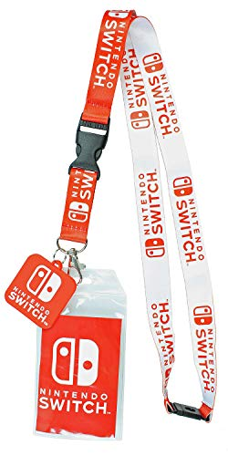 "Nintendo Switch ID Lanyard Badge Holder with 2"" Rubber Charm Pendant"