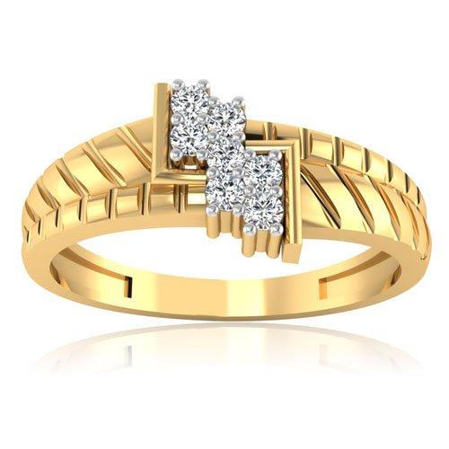 0.15ct naturale fascia di fidanzamento di nozze di diamante anelli da uomo in oro giallo 14K taglio rotondo All taglia U V W x (V)