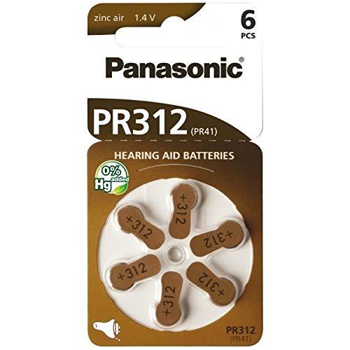 Pilas de Zinc-Aire Panasonic PR312 para audífonos, Tipo 312, 1,4 V, Pilas para audífonos, 10 Paquetes (60 Unidades), de Color marrón