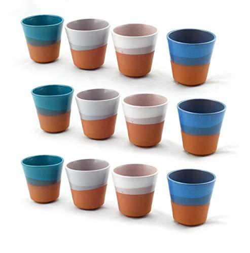 Hostelnovo - Juego de 12 Vasos para Agua, café u Otro Tipo de Bebida - Fabricado en España y Pintado a Mano - Cerámica Natural - 4 Colores : Azul, Verde Turquesa, Gris y Blanco - 250 ml