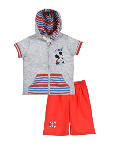 Ensemble Short et Sweat Manches Courtes bébé garçon Mickey Blanc et Gris de 3 à 24mois - Gris/Rouge, 24 Mois