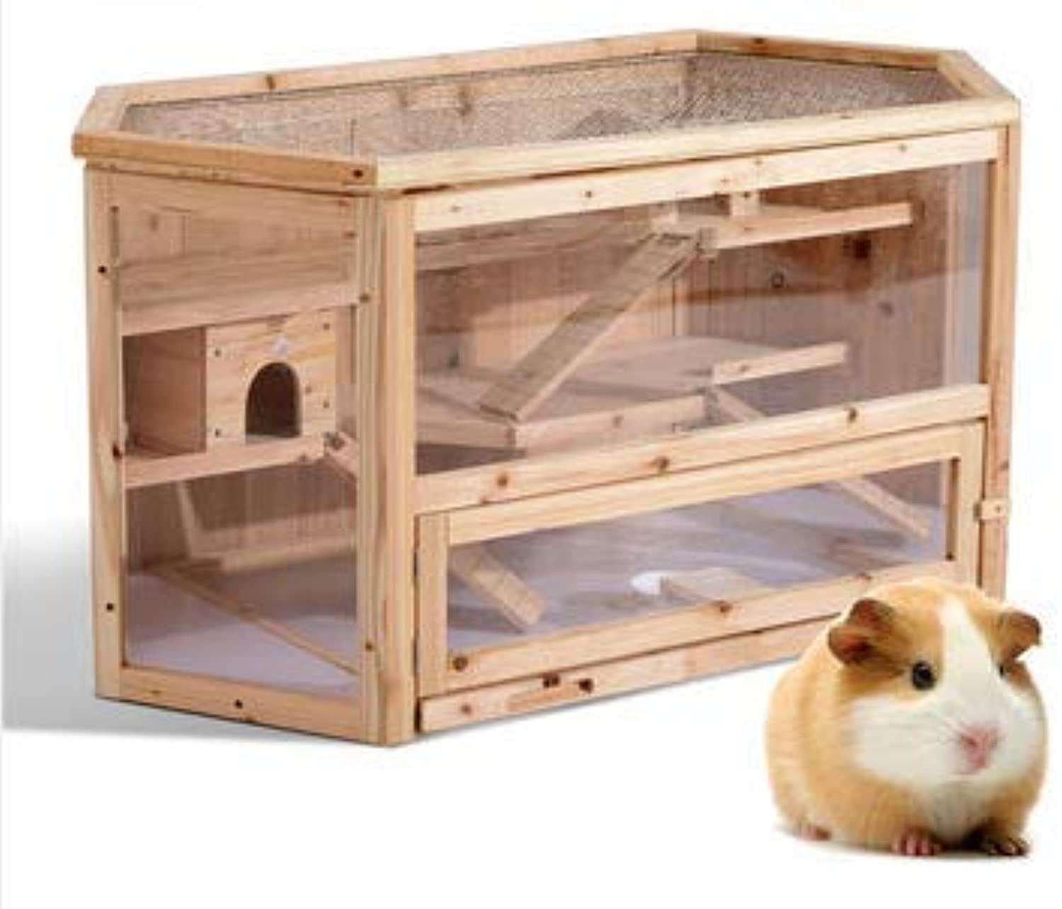 AngelJane Gift 3Tier Wooden Hamster Cage House Rodent Mouse Pet Small Animal Wood Layers Kit Play Small Animals 105x60x56cm