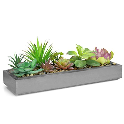 Mixed Color Artificial Succulent Plant Arrangement in Modern 16-Inch Gray Clay Planter Tray