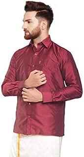 SJS-Men's Full Sleeve Solid Art Silk Shirt