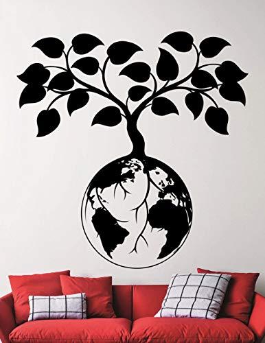 Antangtang vormgegeven muurstickers met een bijzonder betekenis. Planten groeien op aarde. Huispezische wanddecoratiestickers.