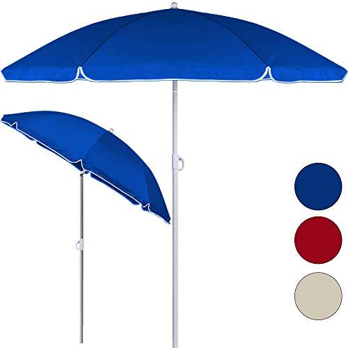 Sombrilla de playa inclinable azul - Altura ajustable (mínimo - máximo): 140-200 cm - Tejido de nylon repelente al agua (170 T)
