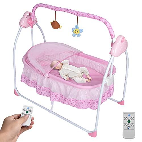 Ausla Silla balancín para bebé, columpio eléctrico con mosquitera y 3 velocidades de balanceo y barra de juguete, cuna eléctrica para bebés (rosa)