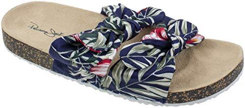 Panama Jack Damen-Sandalen, flexibler Kork-Boden, Fußgewölbeunterstützung, Damengröße 39-46, Blau (navy), 36/37 EU