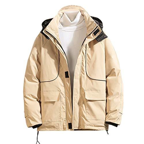 MAYOGO Winterjacke Herren Baumwolle Puffer Daunen Jacke Männer Outdoor Softshell Regenjacke Funktionsjacke Winter Jacke Parka mit Kapuze (Khaki, XL/EU:38)