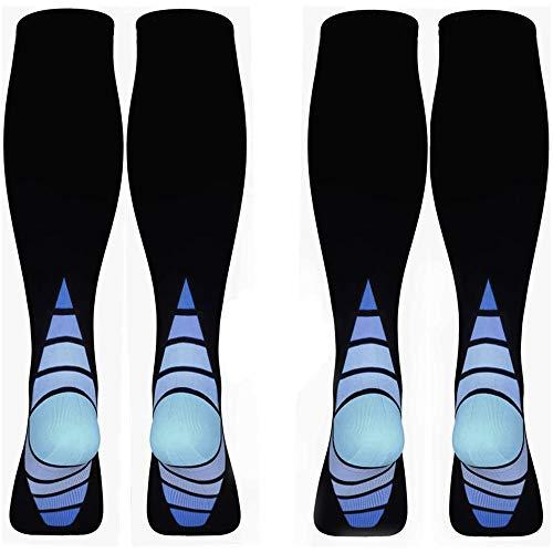 UBERMing 2 Pares Calcetines de Compresión Medias de Compresión para Hombres y Mujeres Calcetines de Running Deportivos Varicosas Embarazo para Acelerar la Recuperación Muscular Aliviar el Dolor