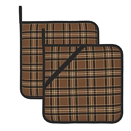 Juego de 2 soportes para ollas de cocina resistentes al calor y manoplas de horno, color marrón rústico vintage para cocinar a la parrilla, almohadillas de aislamiento de microondas