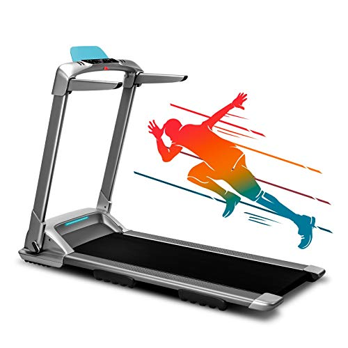 OVICX Q2S Folding Portable Treadmill Compact Walking Running Machine for Home Gym Workout Electric Treadmills with LED Display Device Holder Treadmill for Small Spaces