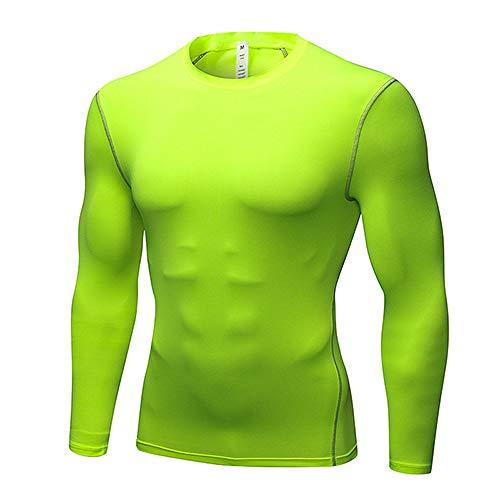 ZMMZYY Ropa De Deporte,Hombres Sexy'S Green Sportswear Camiseta De Compresión para Gym Fitness Manga Larga Marcha De Secado Rápido Al Aire Libre,S