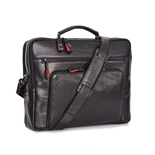 DONBOLSO® Laptoptasche San Francisco 15,6 Zoll Leder I Umhängetasche für Laptop I Aktentasche für Notebook I Tasche für Damen und Herren (Schwarz)