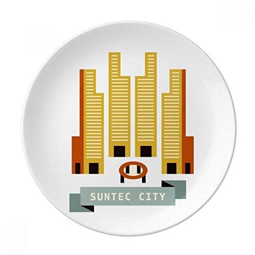 DIYthinker Singapour Suntec City Point de repère décoratif en Porcelaine Assiette à Dessert 8 Pouces Dîner Accueil Cadeau 21cm diamètre Multicolor