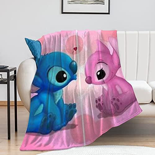Manta Lilo & Stitch – Pop Art – Oversize Cálida – Super suave – Franela suave – 100 cm × 130 cm