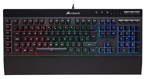 Corsair K55 USB Spaans zwart - toetsenborden (standaard, kabel, USB, Membraan-sleutelschakelaar, RGB-LED, zwart), Spaans toetsenbordindeling
