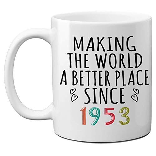1953 67 ° día de la madre, regalo del día del padre, tazas de cumpleaños para hombres, mujeres que hacen del mundo un lugar mejor desde 1953 Taza de café, le presenta ella, compañero de trabajo, taza
