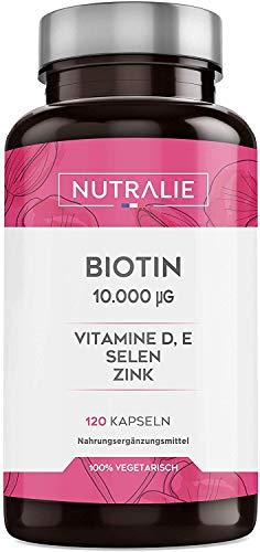 Biotin 10.000 mcg | Hochdosiert mit Selen, Zink und Vitaminen D & E | Unterstützt Wachstum von Haaren, Haut und Nägeln | 120 Kapseln | Premium Qualität | Nutralie