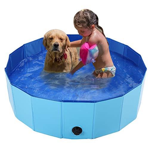 Lantro JS Piscina para Mascotas, bañera para Gatos domésticos, Ducha Duradera para Perros, bañera para Mascotas, Gatos con Orificio de(Blue, Medium)