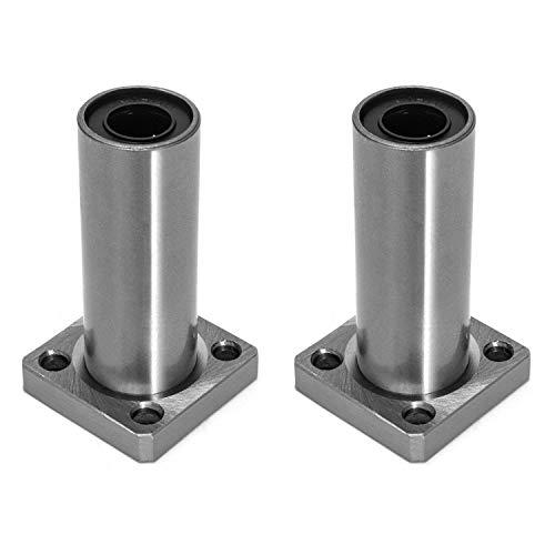 QWORK LMK10LUU Quadratischer Flansch Linear-Kugellager für 10 mm lineare Bewegung von 3D-Druckern, 2 Stück