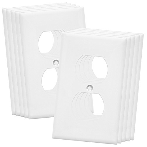 Enerlites Duplex Wall Plates Kit , model 8821-W Home Electrical Outlet Cover, 1-Gang Standard Size, Unbreakable Polycarbonate Material, White - 10 pack