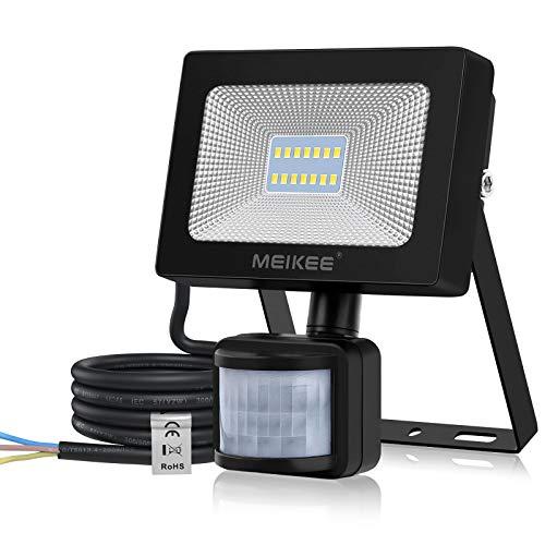 MEIKEE 15W Foco LED con Sensor de Movimiento, Proyector Led Exterior con Detector 1500LM, Blanco Frío 6500K, Impermeable IP66, Lámpara Iluminación de Seguridad para Jardín, Patio, Garaje