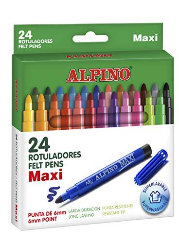 Rotuladores Alpino Maxi para Niños - Rotuladores Gruesos - Estuche de 24 colores con Punta Gruesa de 6mm - Tinta Lavable - Perfecto para Manualidades, Pintar Mandalas o Material Escolar