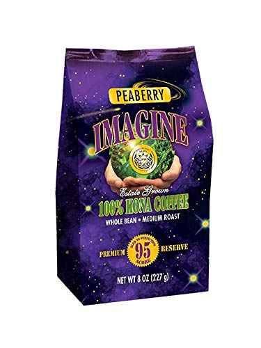 Kona Coffee Beans by Imagine - 100% Kona Hawaii - Medium Dark Roast (Peaberry, 8 ounce)