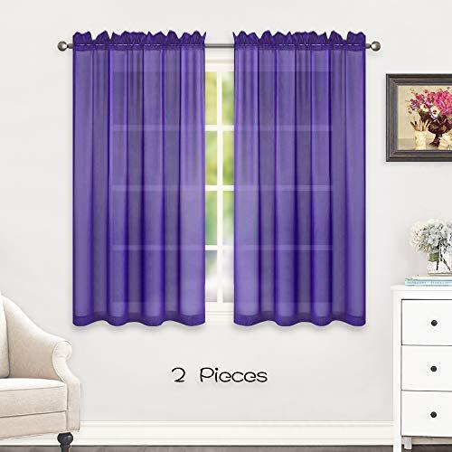 HUTO Short Sheer Curtains 45 Inch Length for Girls Room Rod Pocket Sheer Window Drapes for Kitchen Bedroom Bathroom,Purple 2 Panels