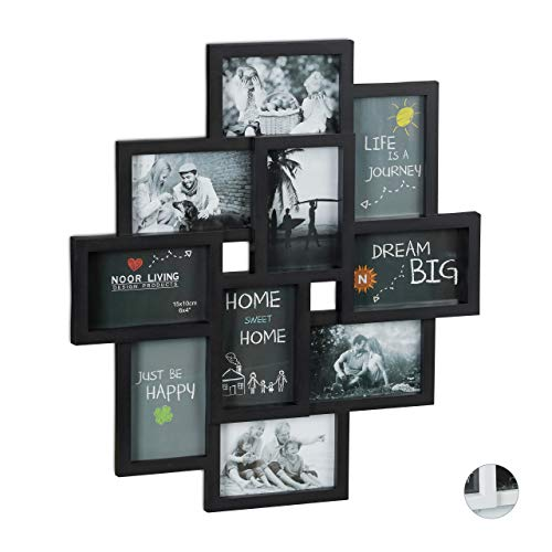Relaxdays Bilderrahmen Collagen, für 10 Bilder, Hoch-oder Querformat, Wand Kunststoffrahmen, H x B 55 x 50 cm, schwarz