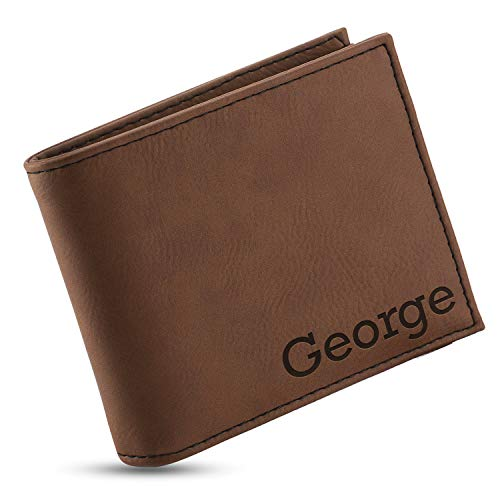 Personalized Wallets for Men, Chestnut - 6 Colors & 19 Font Options - Custom Engraved Leather Wallet - Gifts for Husband - Father's Day Gifts, Personalized Gifts for Men