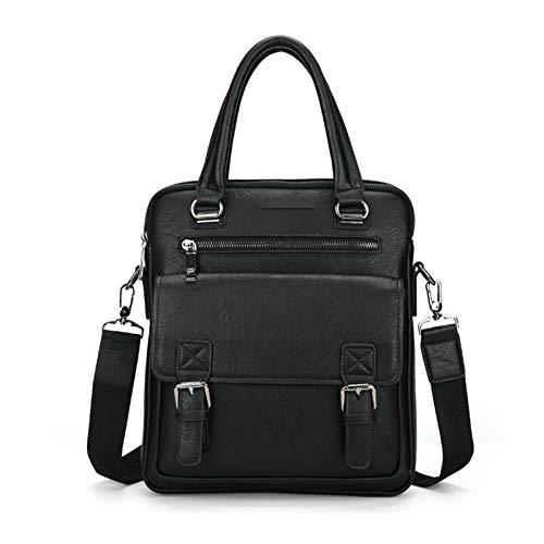 Yi-xir Bolso de piel para hombre, diseño de moda, con dos bolsillos, asa para portátil, ligero y duradero (color 8001A, negro, tamaño: A)
