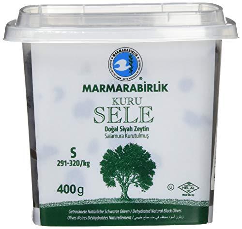 Marmarabirlik Oliven, schwarz, mit Stein, Kuru Sele, 1er Pack (1 x 400 g)