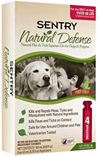 SENTRY Natural Defense Flea and Tick Topical for Dogs and Puppies, Over 40 lbs, 4 Month Supply