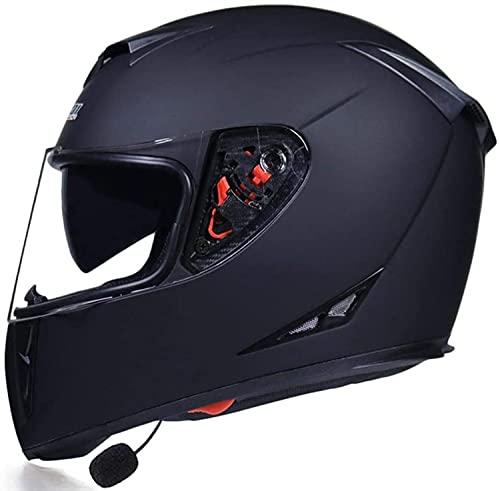 Cascos De Moto Integrados Con Bluetooth, Cascos De Moto Abatibles De Cara Completa, Cascos De Moto De Doble Visera Antiniebla Para Adultos, Certificado ECE Con Visera Solar Casco De Moto P,XL