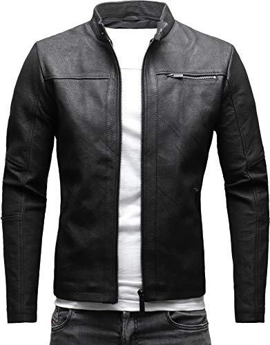 Crone Epic Herren Lederjacke Cleane Leichte Basic Jacke aus festem Ziegenleder (M, Crushed Schwarz (Ziegenleder))