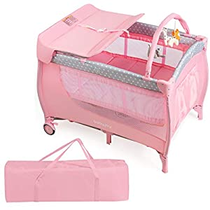 BABY JOY 3 in 1 Portable Pack and Play with Bassinet, Convertible Baby Travel Crib Playard with Changing Table, Brake Wheel, Newborn Napper with Large Storage Shelf, Oxford Carry Bag (Pink)