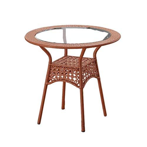 WEIZI Table à thé créative, Tissage de rotin Table Ronde en Verre Reste Salon Extérieur Balcon Table de Loisirs Table Multifonction Durable (Couleur: B)