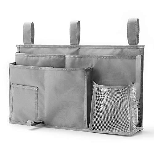 Caddy Hanging Organizer Bedside Storage Bag, 600D Oxford Cloth with Hook&Loop Fastener for Bunk and Hospital Beds,Dorm Rooms Bed Rails(8 Pockets) (Grey)