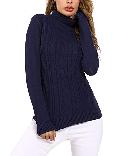 Irevial Jersey Mujer Invierno Cuello Alto, Suéter Mujer Manga Larga Elegante, Pullover Jersey de Punto Mujer Cuello Alto Cálido Turtleneck Sweater para Otoño Invierno