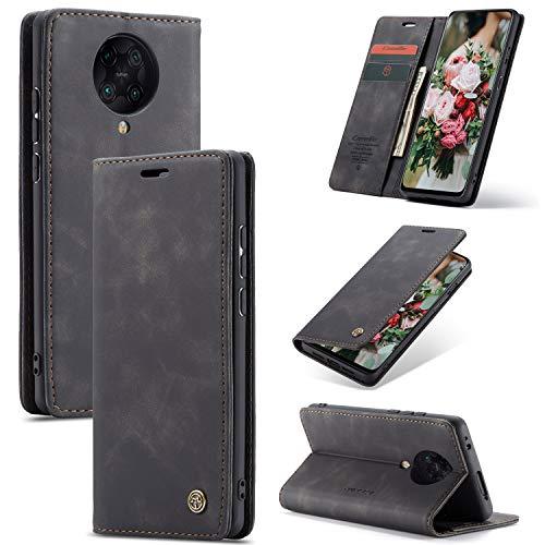 FMPC Handyhülle für Xiaomi Redmi K30 Pro Premium Lederhülle PU Flip Magnet Hülle Wallet Klapphülle Silikon Bumper Schutzhülle für Xiaomi Redmi K30 Pro Handytasche - Schwarz