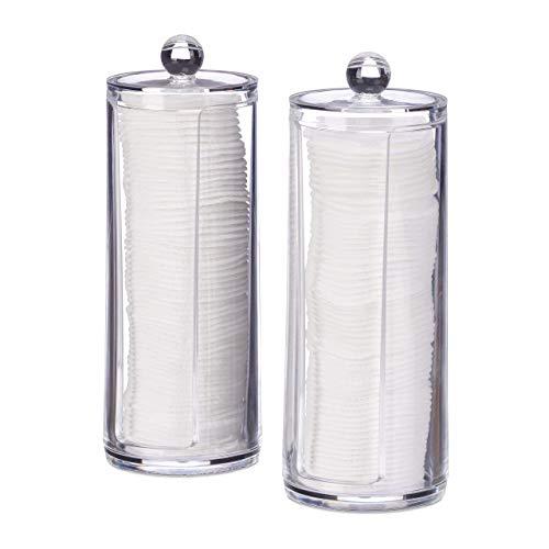 Relaxdays Dispenser per Dischetti di Cotone, Set da 2, Cilindro con Coperchio, per 50 Pads, HxD: 19x6,5 cm, Trasparente, PS, pz, 2 unità