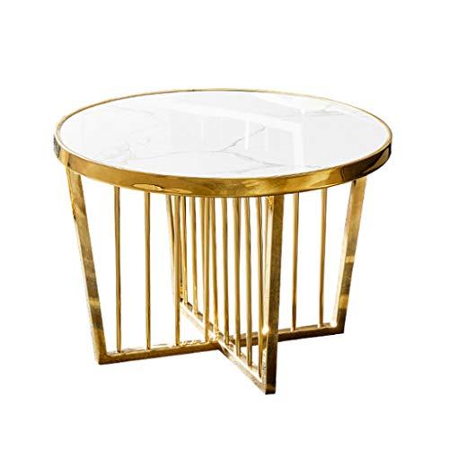 Beistelltisch/Runder Couchtisch im Wohnzimmer/Goldfarbenes Edelstahlgestell/Weißer Marmor, für Apartment, Nachttische, 60 cm x 40 cm