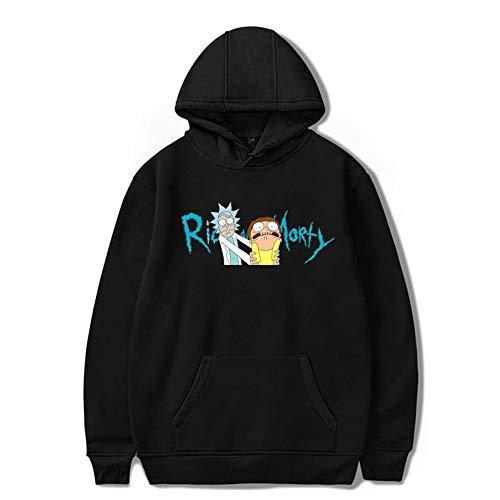 WANLN Divertente con Cappuccio Sweatershirt Rick Uomo e Morty 3D Stampa Grafica con Cappuccio Felpe,Nero,XS